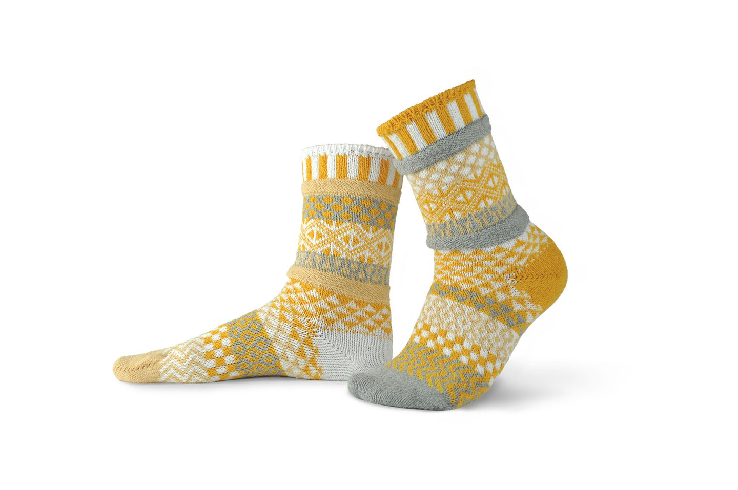 Solmate socks made in the USA from recycled cotton, colourway Northern Sun.
