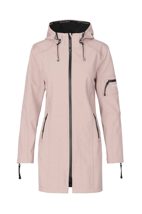 Ilse Jacobsen Rain07 Rain 07 fully fleece lined fitted all weather rainproof jacket in Adobe Rose.