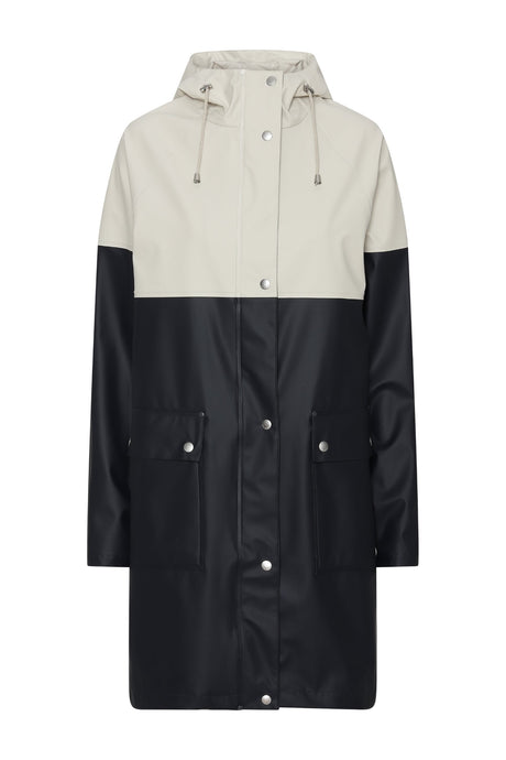 Ilse Jacobsen classic two tone lightweight hooded raincoat, RAIN112B Rain 112B, in dark indigo and milk creme, cream.