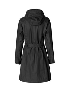 Ilse Jacobsen Rain71 Rain 71 trench style raincoat in Dark Antracite - deep charcoal (rear view).