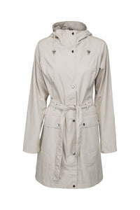 Ilse Jacobsen Rain70 Rain 70 rain coat, trench style with belt, patch pockets and functional hood. Milk Creme - cream.