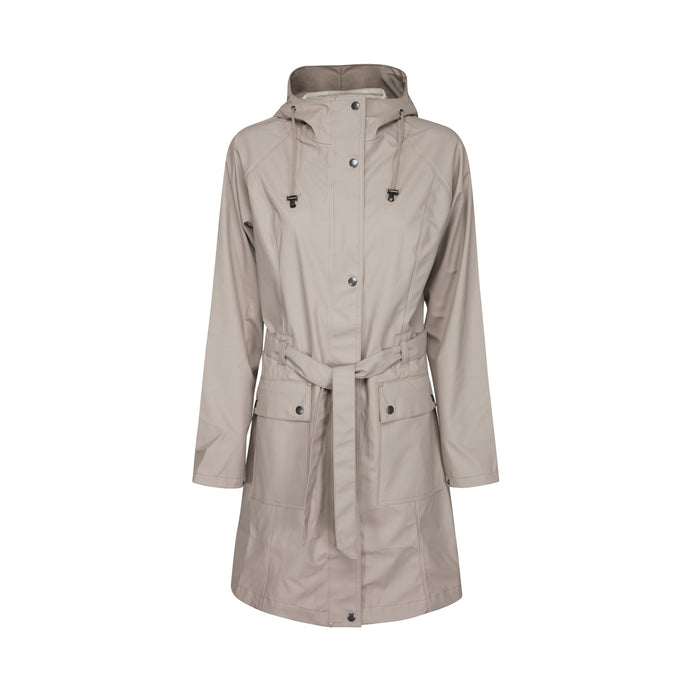 Ilse Jacobsen Rain70 Rain 70 rain coat, trench style with belt, patch pockets and functional hood. Atmosphere - deep beige.