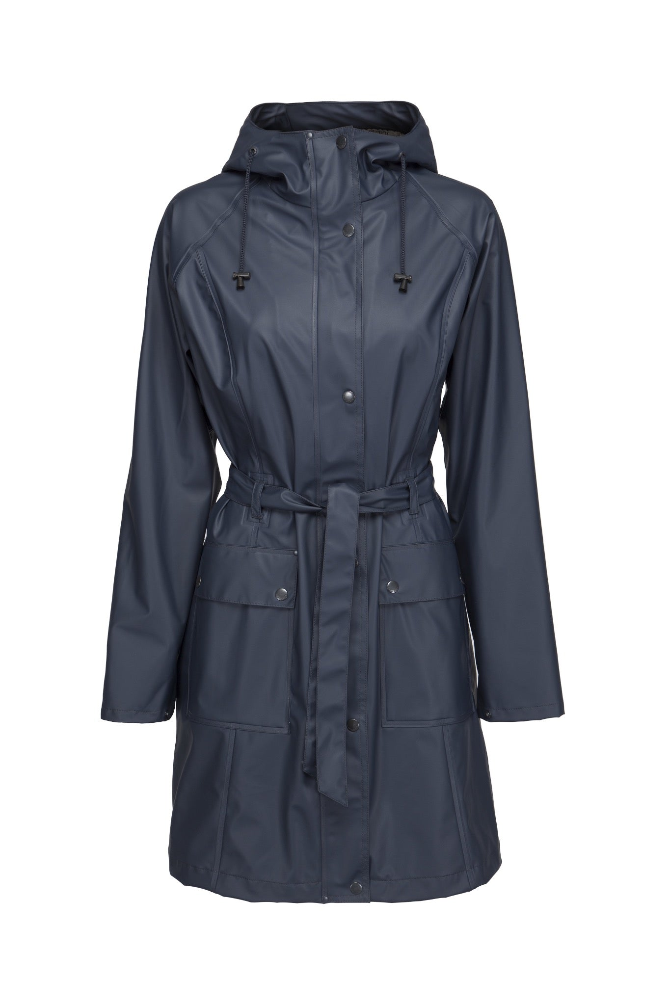 Ilse Jacobsen Rain70 Rain 70 rain coat, trench style with belt, patch pockets and functional hood. Indian ink - dark navy.