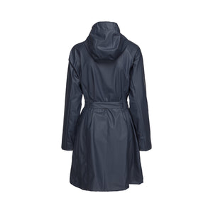 Ilse Jacobsen Rain70 Rain 70 rain coat, trench style with belt, patch pockets and functional hood. Indian ink - dark navy (rear view)