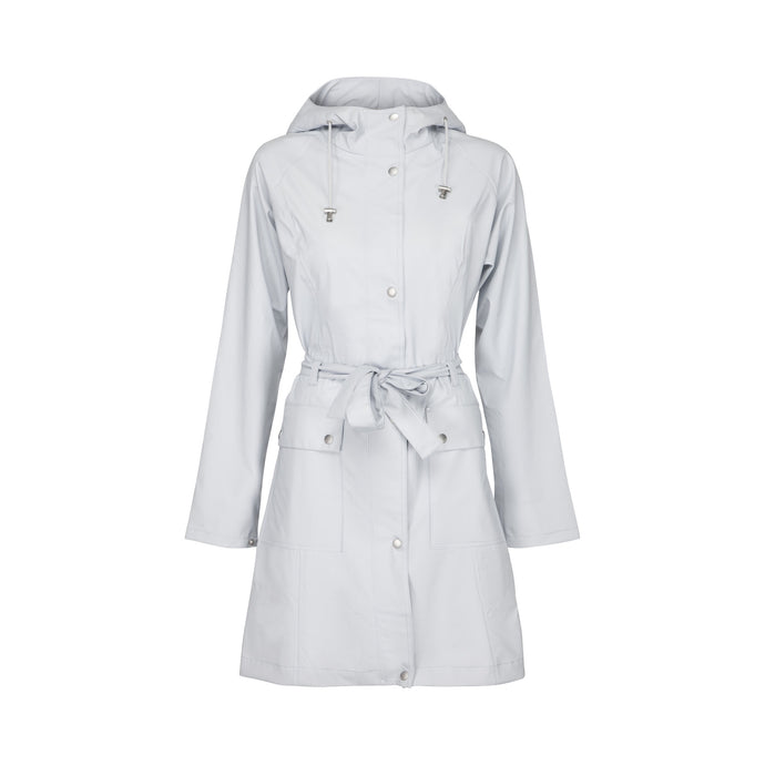 Ilse Jacobsen Rain70 Rain 70 rain coat, trench style with belt, patch pockets and functional hood. White Blue - pale, ice blue.