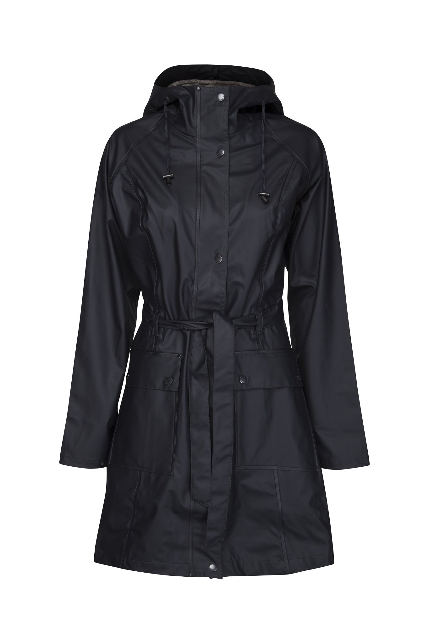 Ilse Jacobsen Rain70 Rain 70 rain coat, trench style with belt, patch pockets and functional hood. Dark Indigo - deep navy.
