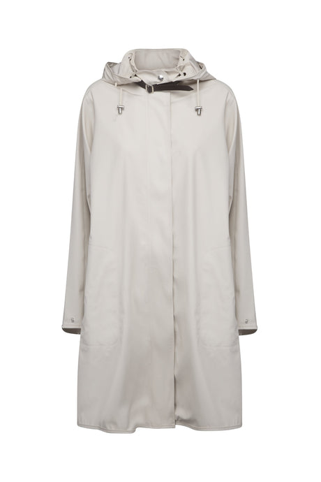 Ilse Jacobsen Rain71 Rain 71 A-line waterproof rain coat with detachable hood. Milk Creme - classic cream.