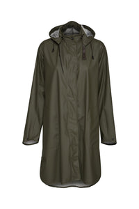 Ilse Jacobsen Rain71 Rain 71 A-line waterproof rain coat with detachable hood. Army - classic khaki.