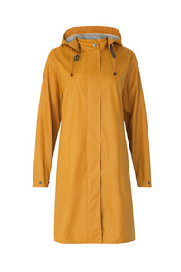 Ilse Jacobsen RAIN71 classic A-line detachable hood waterproof raincoat in Dijon mustard yellow.