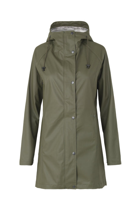 Ilse Jacobsen RAIN87 mid length hooded rain coat in Army - khaki green.
