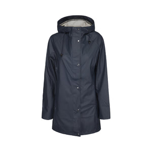 Ilse Jacobsen Rain87 Rain 87 light rain hooded jacket in Deep Indigo, dark navy.