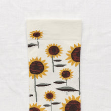 Load image into Gallery viewer, Bonne Maison fine cotton socks, made in France. Natural sunflowerDark, Umber Brown and Buttercup Yellow Sunflower on Natural background with Sage Green toe.