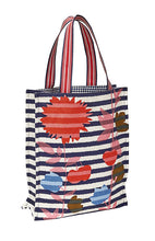Load image into Gallery viewer, Inouitoosh canvas tote bag in the Aout design, featuring red and pink flowers on blue and white stripes.