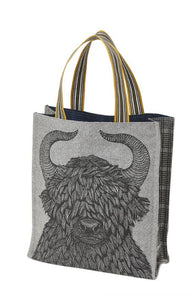 Inouitoosh Yako black tote street bag, featuring yak in black on grey with check reverse. Fully lined bag in 100% wool/.