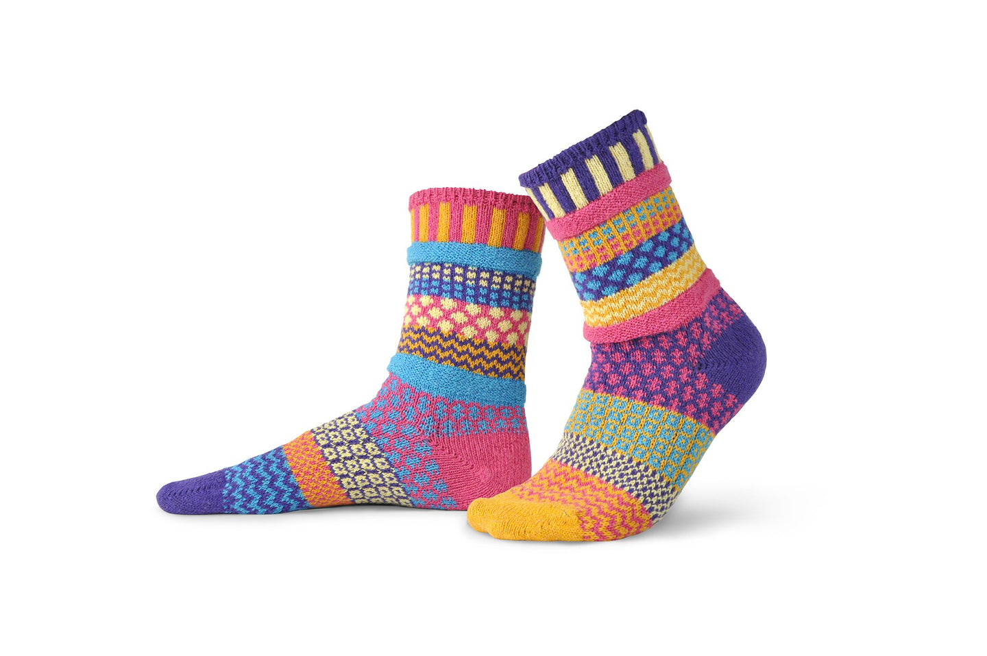 Solmate socks made in the USA from recycled cotton, Sunny in pink, orange, aqua, purple and lemon