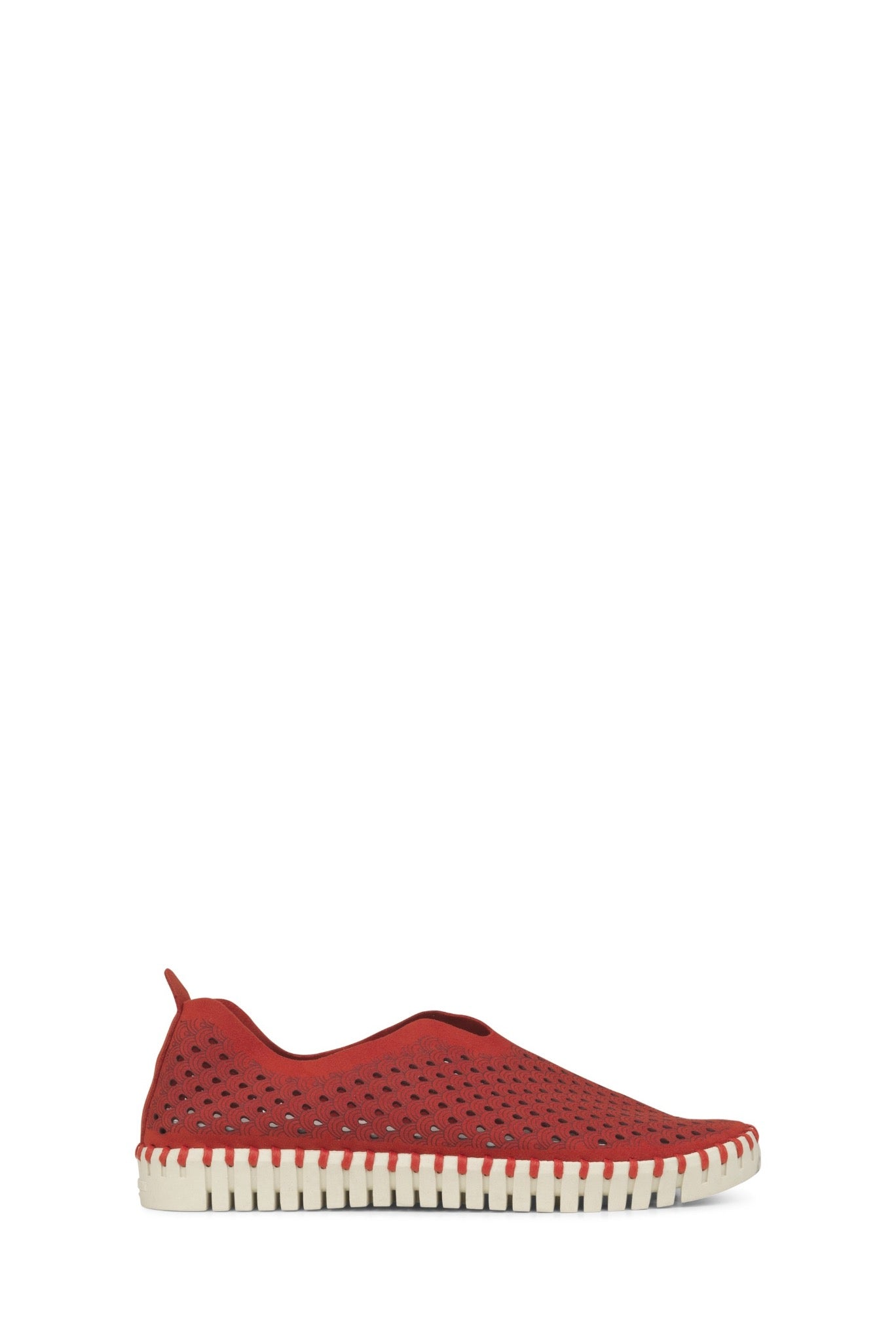 Ilse Jacobsen Tulip shoes in Latte - comfortable, microfibre and natural rubber, washable shoes. Deep Red.
