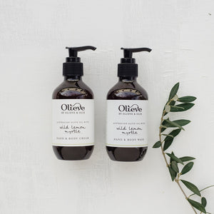 Olieve and Olie wild lemon myrtle hand and body wash and hand and body cream twin boxed gift set, all natural and organic ingredients.