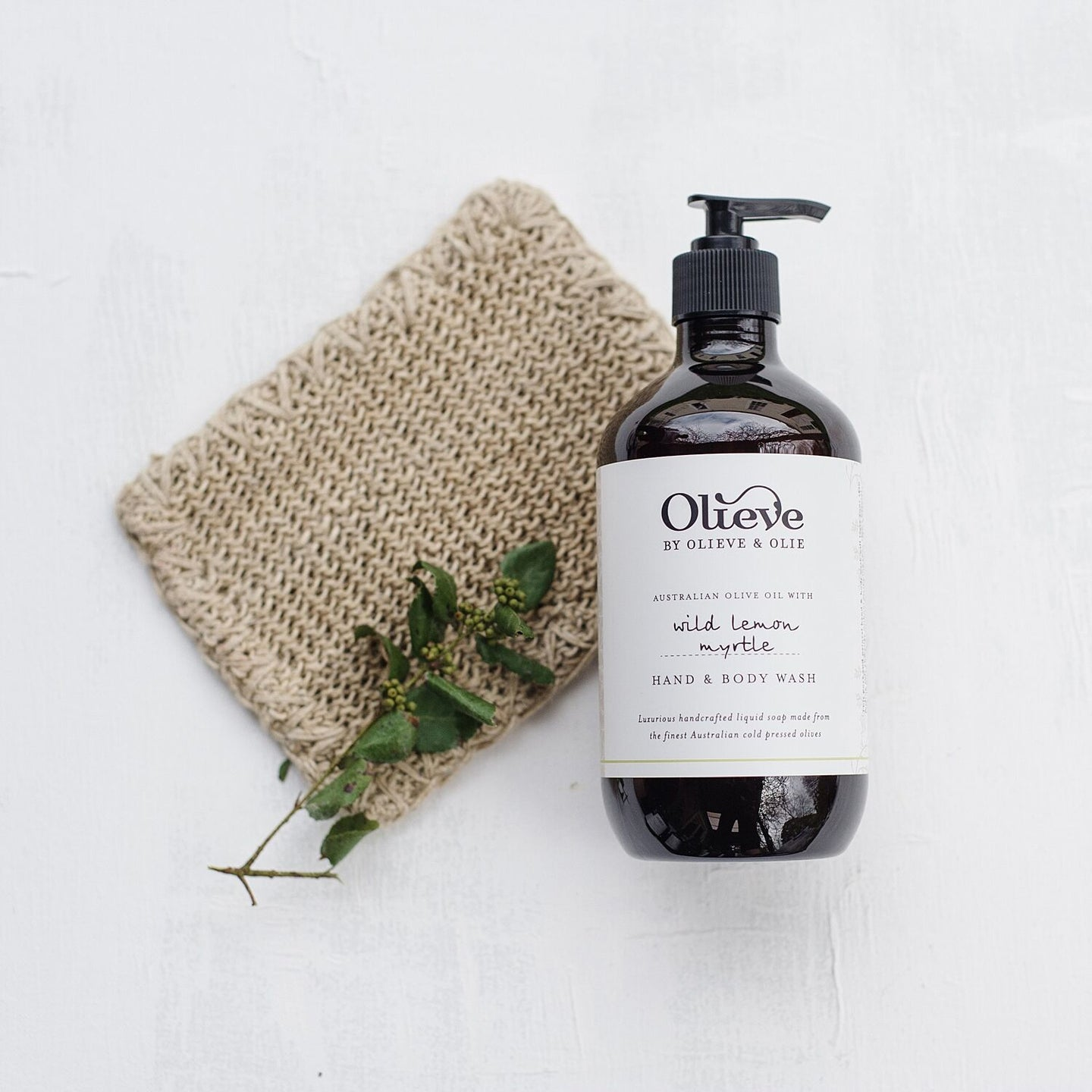 Olieve and Olie wild lemon myrtle hand and body wash, all natural and organic ingredients.