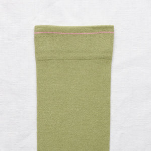 Bonne Maison fine cotton socks, made in France. Co-ordinating plainMoss green plain with peach pink toe and edging.