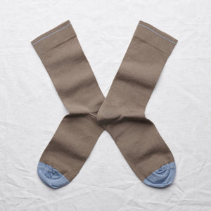 Bonne Maison fine cotton socks, made in France. Co-ordinating plain. Taupe grey plain with storm blue toe and edging.