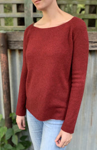 Juniper Hearth baby yak wool Cindy round neck jumper in cherry red.