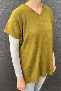 Juniper Hearth baby yak wool Mila tunic in Weed, yellow olive.