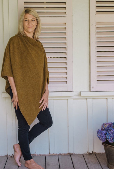 Juniper Hearth baby yak wool poncho in colour maize, mustard yellow.