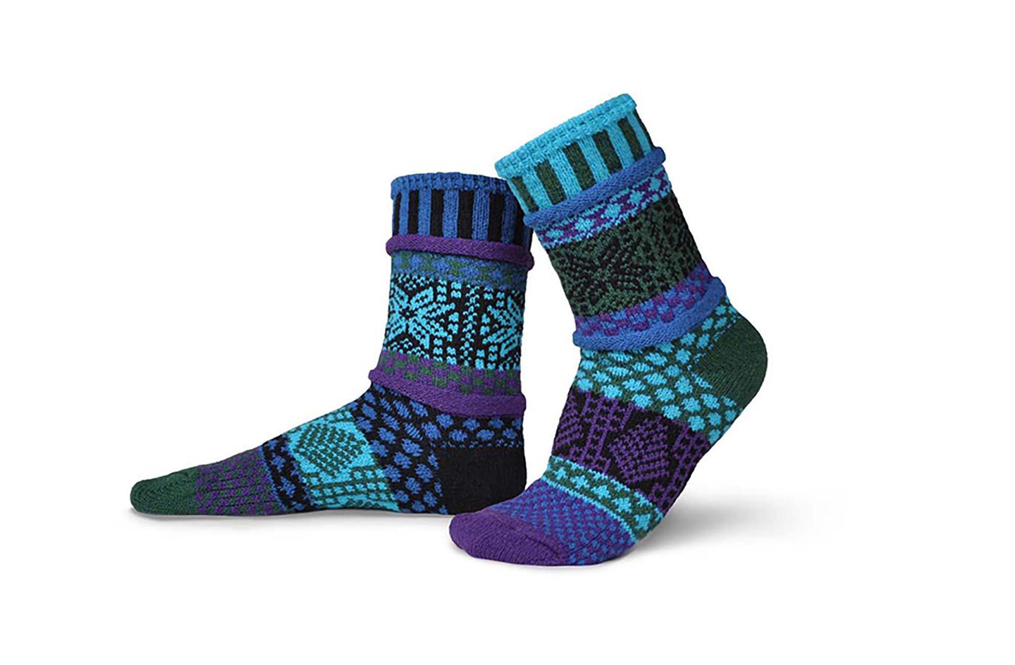 Solmate socks in Blue Spruce with aqua, purple, blue and forest green.