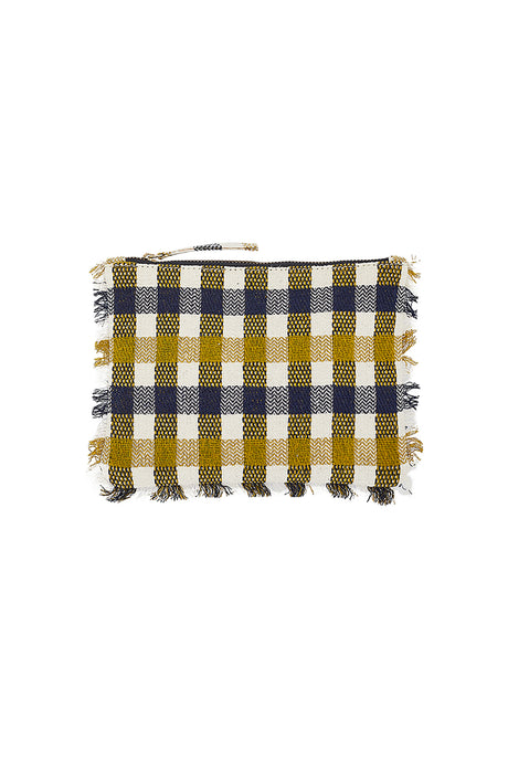 Inouitoosh fringed pouch, Carla in mustard, navy and ecru check cotton.