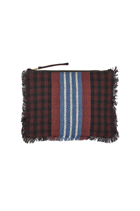 Inouitoosh Marci wool pouch in Brown and black check with striped detail in blue, white and rust.