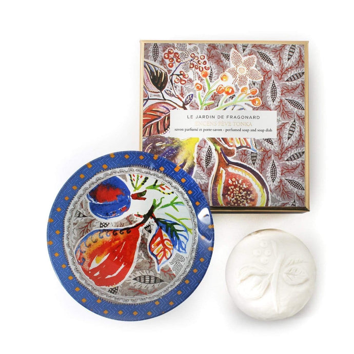 Fragonard French boxed soap and glass dish gift set, encens feve tonka (incense tonka bean).