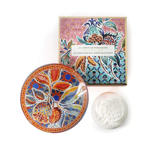 Fragonard French boxed gift set of soap and glass dish, grenade pivoine (pomegranate peony).