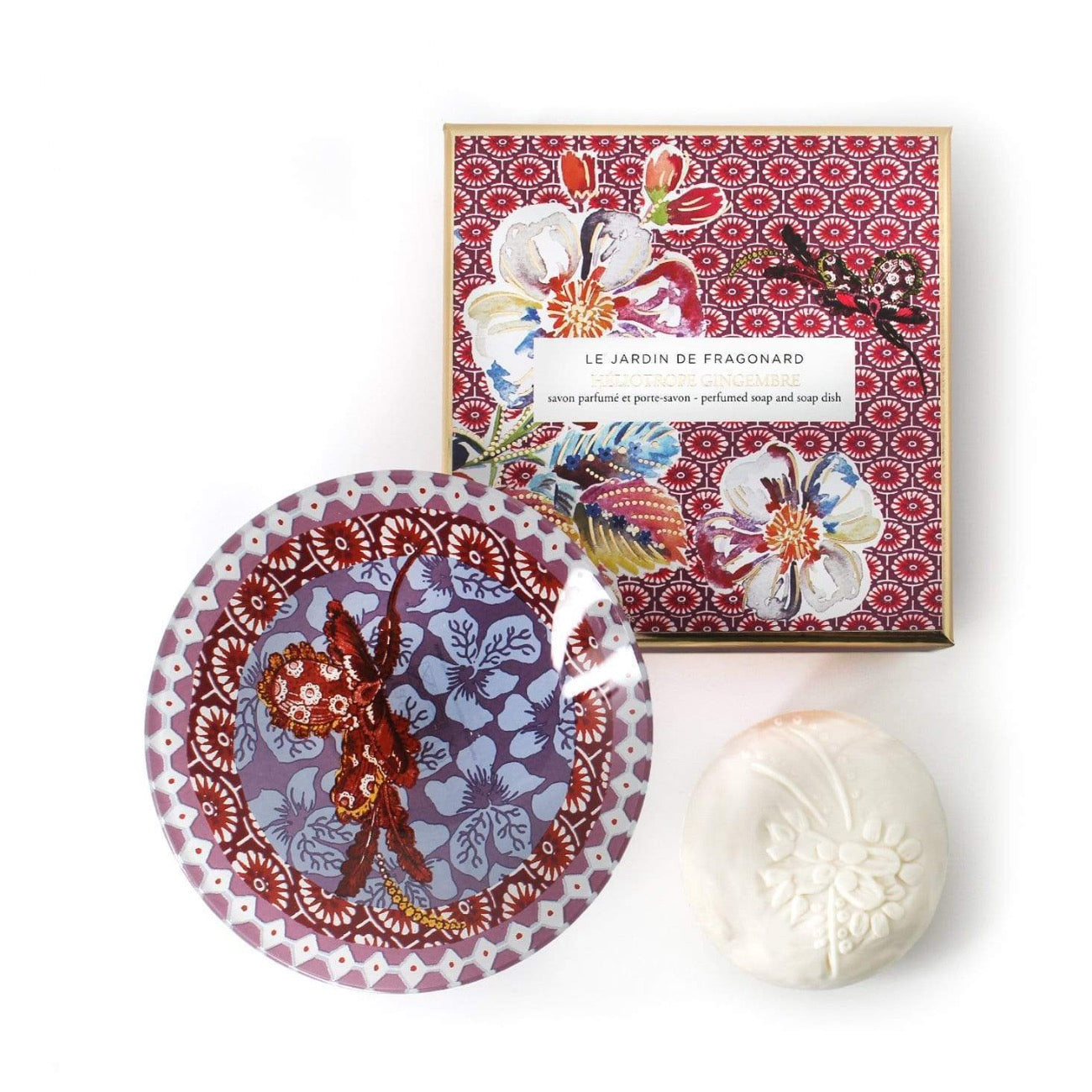 Fragonard French boxed soap and glass dish gift set, heliotrope gingembre (ginger).