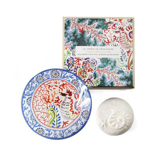 Fragonard French boxed soap and glass dish gift set, jasmine perle de the (jasmine pearl tea).
