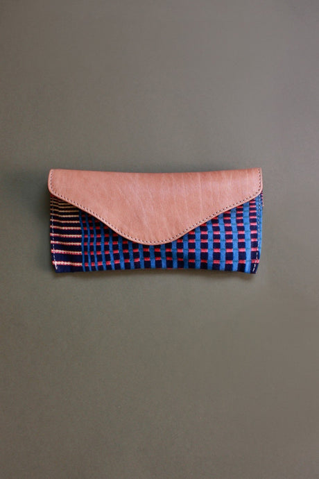 Ma Poesie cotton canvas leather flap spectacles glasses case in Gradient print in navy and pink stripes and checks.
