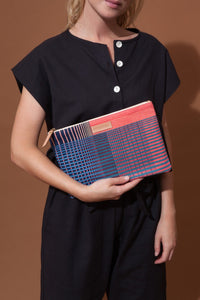 Ma Poesie cotton canvas zippered pouch in Gradient print in navy and pink stripes and checks.