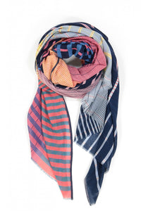 Ma Poesie Gradient scarf, designed in Paris woven in India, in navy, light blue, pink and yellow checks and stripes.