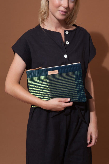 Ma Poesie cotton canvas zippered pouch in Gradient print in navy and lime stripes and checks.