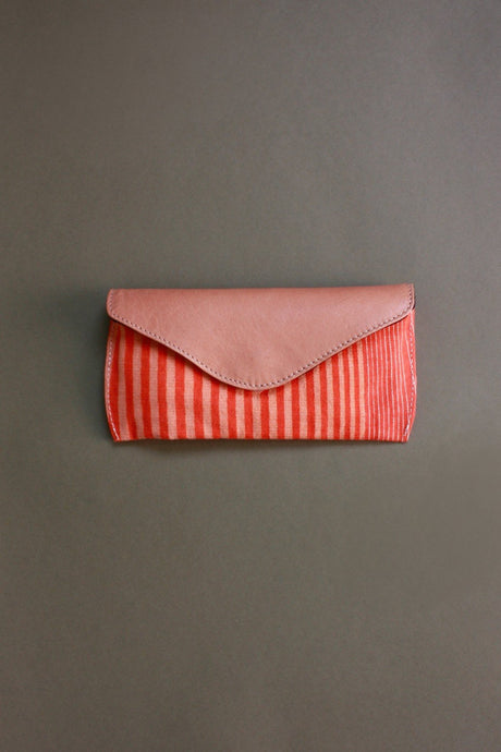 Ma Poesie cotton canvas leather flap spectacles glasses case in Gradient print in orange and pink stripes and checks.