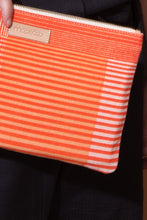 Load image into Gallery viewer, Ma Poesie cotton canvas zippered pouch in Gradient print in orange and pink stripes and checks.
