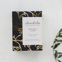 Load image into Gallery viewer, Olieve and Olie wild lemon myrtle hand and body wash and hand and body cream twin boxed gift set, all natural and organic ingredients.