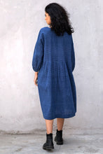 Load image into Gallery viewer, Dve Anisha dress - indigo ikat handloom cotton