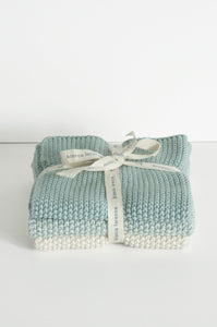 Bianca Lorenne lavette set of 3 cotton knitted washcloths in duck egg blue.