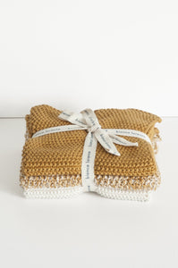 Bianca Lorenne lavette set of 3 cotton knitted washcloths in ochre.