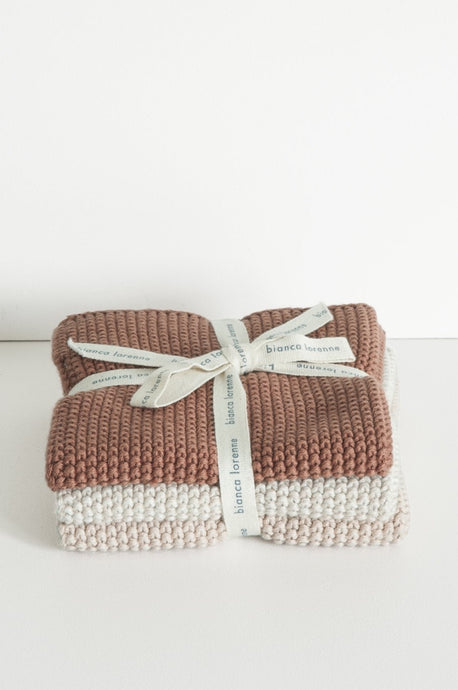 Bianca Lorenne lavette set of 3 cotton knitted washcloths in vintage rose pink.