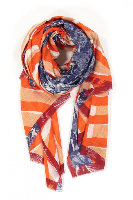 Ma Poesie Marquises scarf, designed in Paris woven in India, in navy blue and white floral, with red and coral stripes.