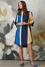 Load image into Gallery viewer, Valia multi stripe linen Paradise dress, A-line tunic with three quarter sleeeves. Stripes of predominantly navy and azure, with highlights of citrus, pink and white.