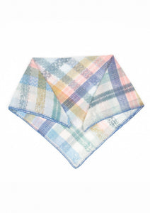 Ma Poesie Plumetis square scarf, designed in Paris made in India, in light blue, pink, aqua and mustard check cotton silk featuring hand embroidered edge in blue thread.