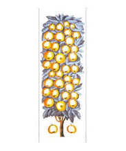 Load image into Gallery viewer, Cotton and silk Inouitoosh scarf, designed in France, golden yellow apples on a blue and white background.