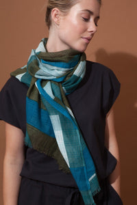 Ma Poesie scarf, design in France made in India, hand woven Prairie design in khaki, olive, teal and aqua, subtle floral design.